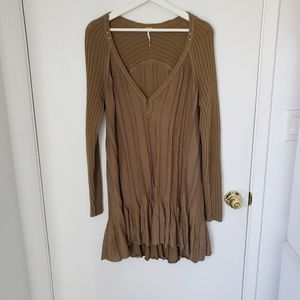 Free People Olive Ribbed Sweater tunic dress med